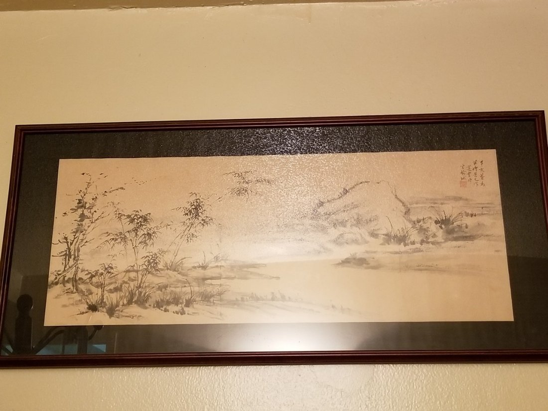 Vintage Chinese ink lanscape painting