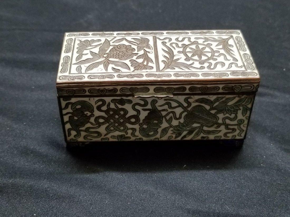 Vintage brass flower pattern box