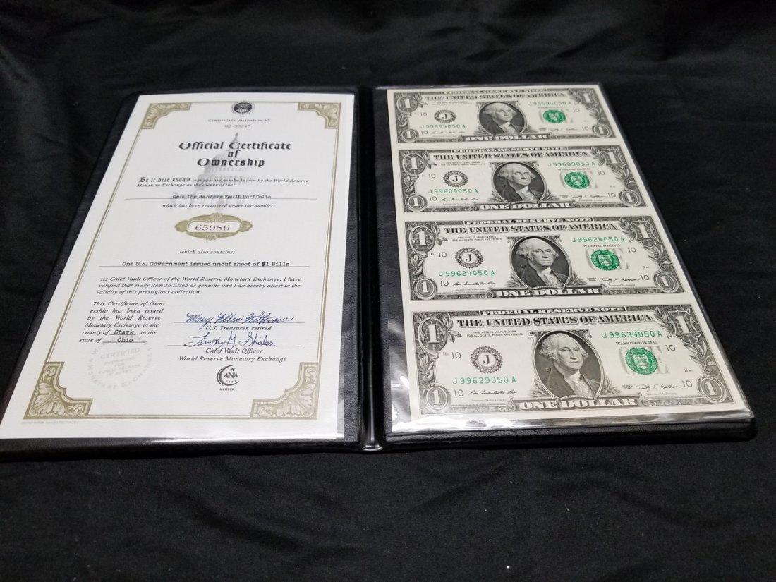 Uncut four America dollar bill