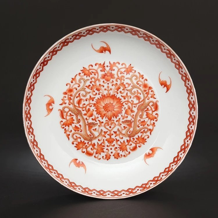 A mark Chinese copper red  porcelain plate