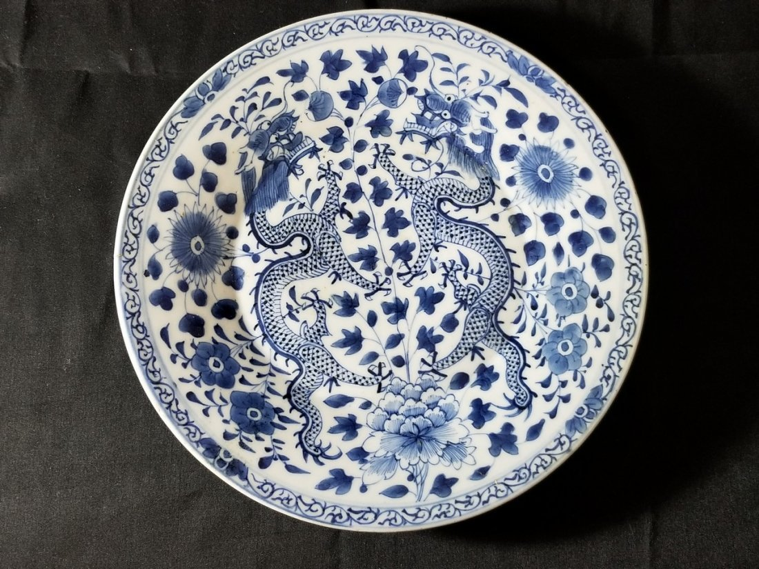 Excellent Chinese B/W porcelain dragon plate