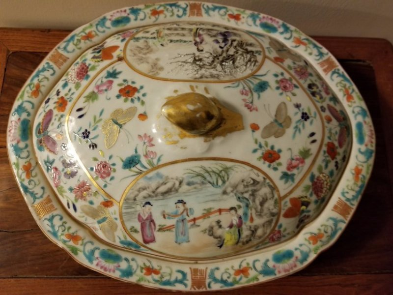 Excellent Chinese export porcelain cover bowl