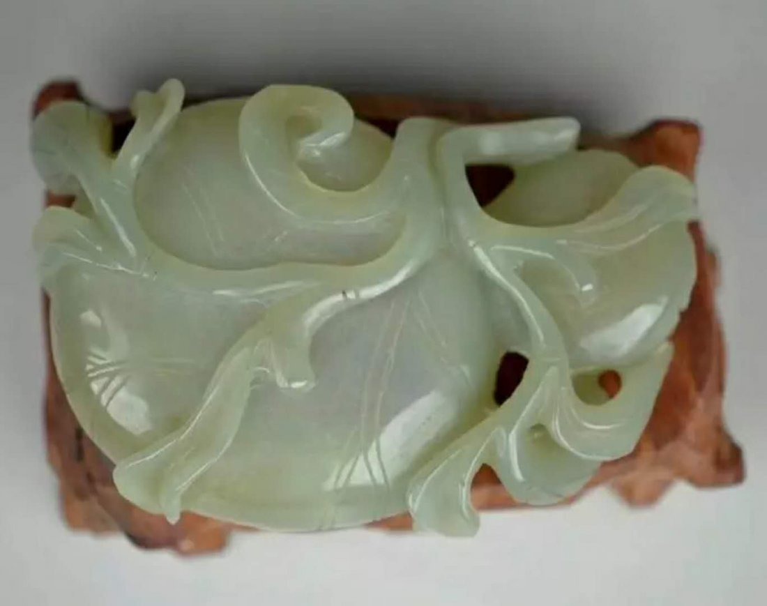 A carved jade brush washer - 3