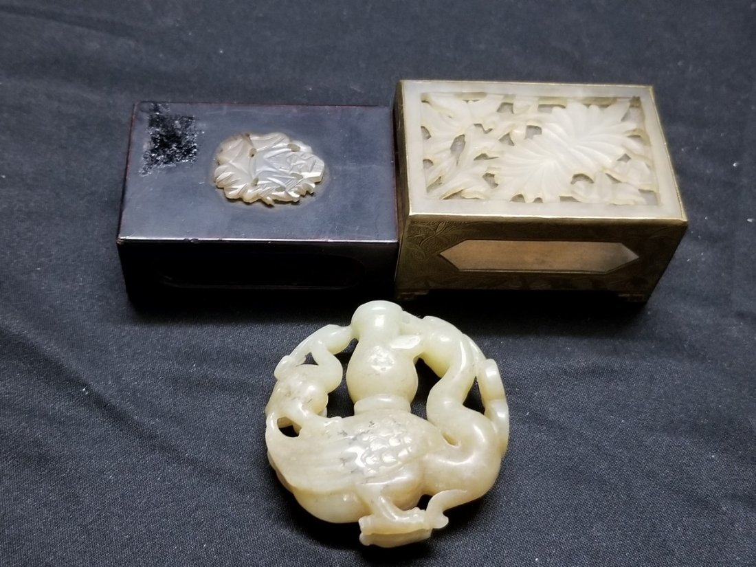 Vintage Chinese jade  match boxes and jade