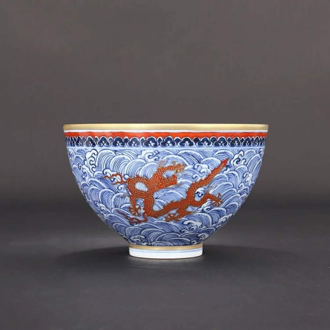 An unusual Chinese B/W porcelain dragon bowl
