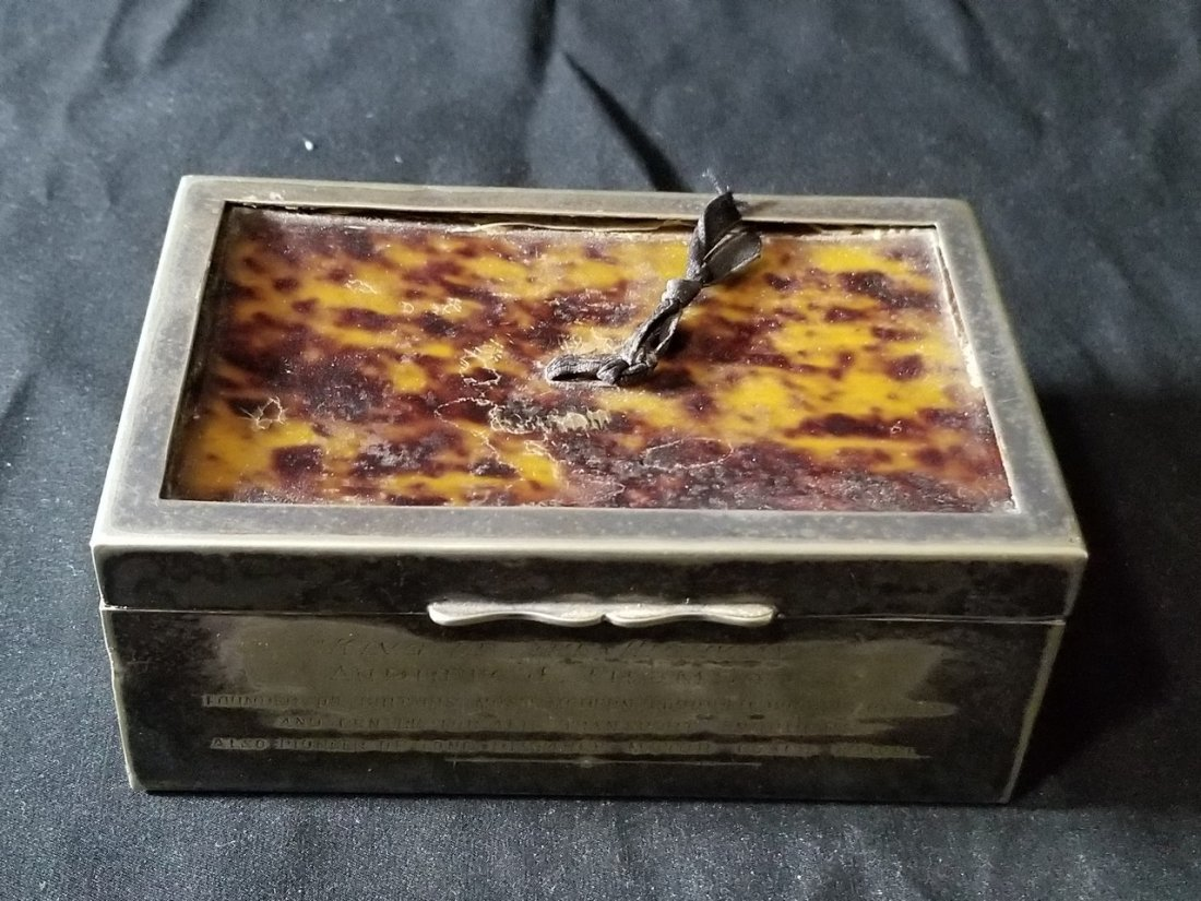Vintage silver porcelain turtle shell box