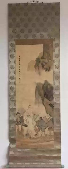 A vintage Chinese guanyin ink painting