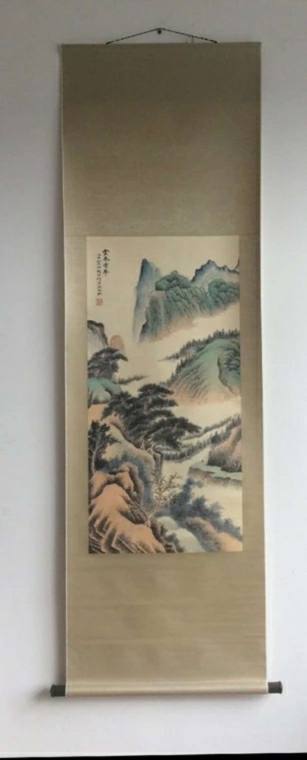 A hand painted Chinese ink color painting