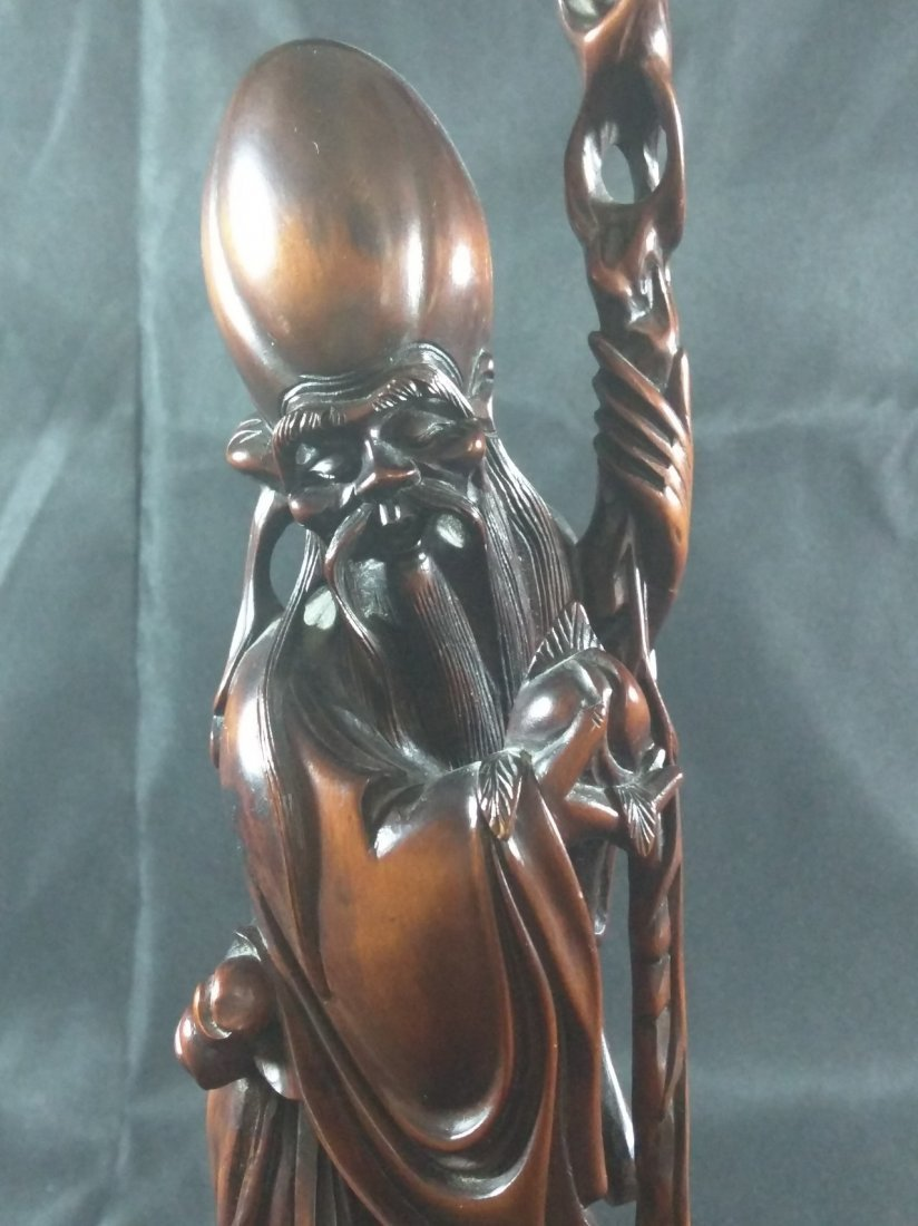 Fine Chinese Wood Carving Figure Statue - 3