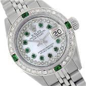 Rolex Ladies Stainless Steel DiamEmerald Dial