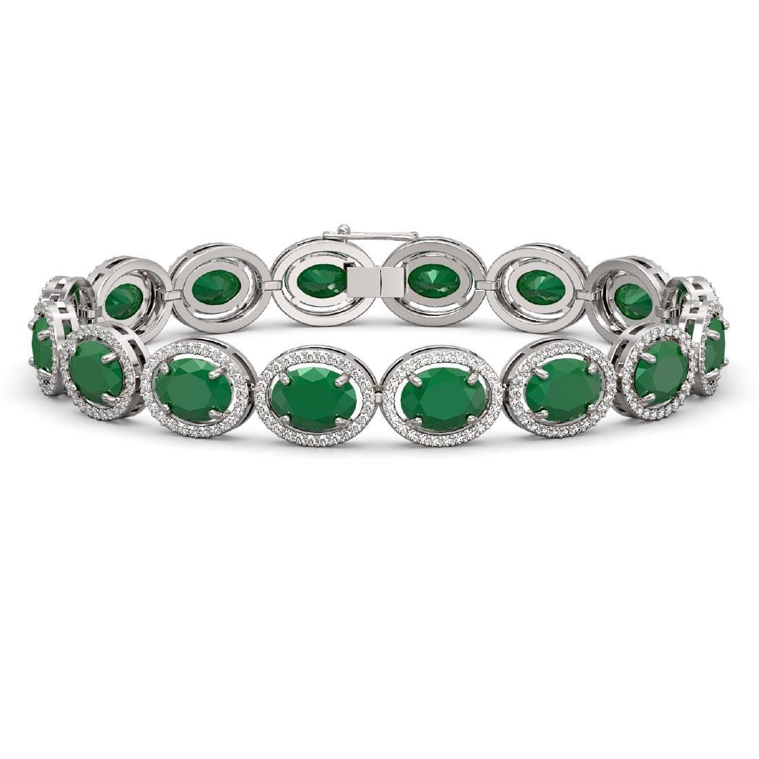 3179 CTW Emerald Diamond Halo Bracelet 10K White