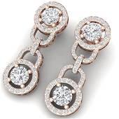 4 CTW Certified SII Diamond Halo Earrings 18K Rose
