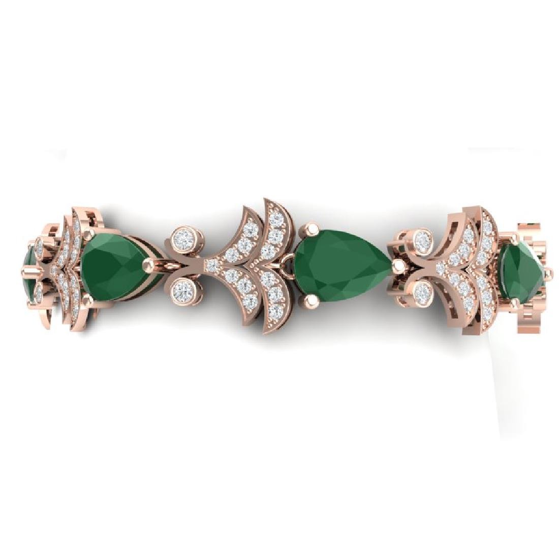 24.8 CTW Royalty Emerald & VS Diamond Bracelet 18K Rose