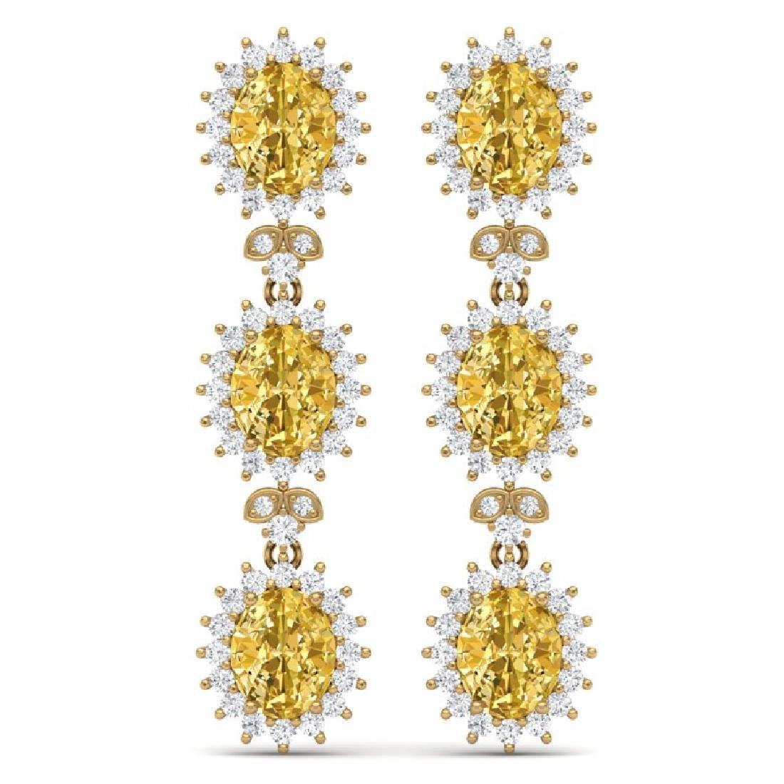 19.06 CTW Royalty Canary Citrine & VS Diamond Earrings