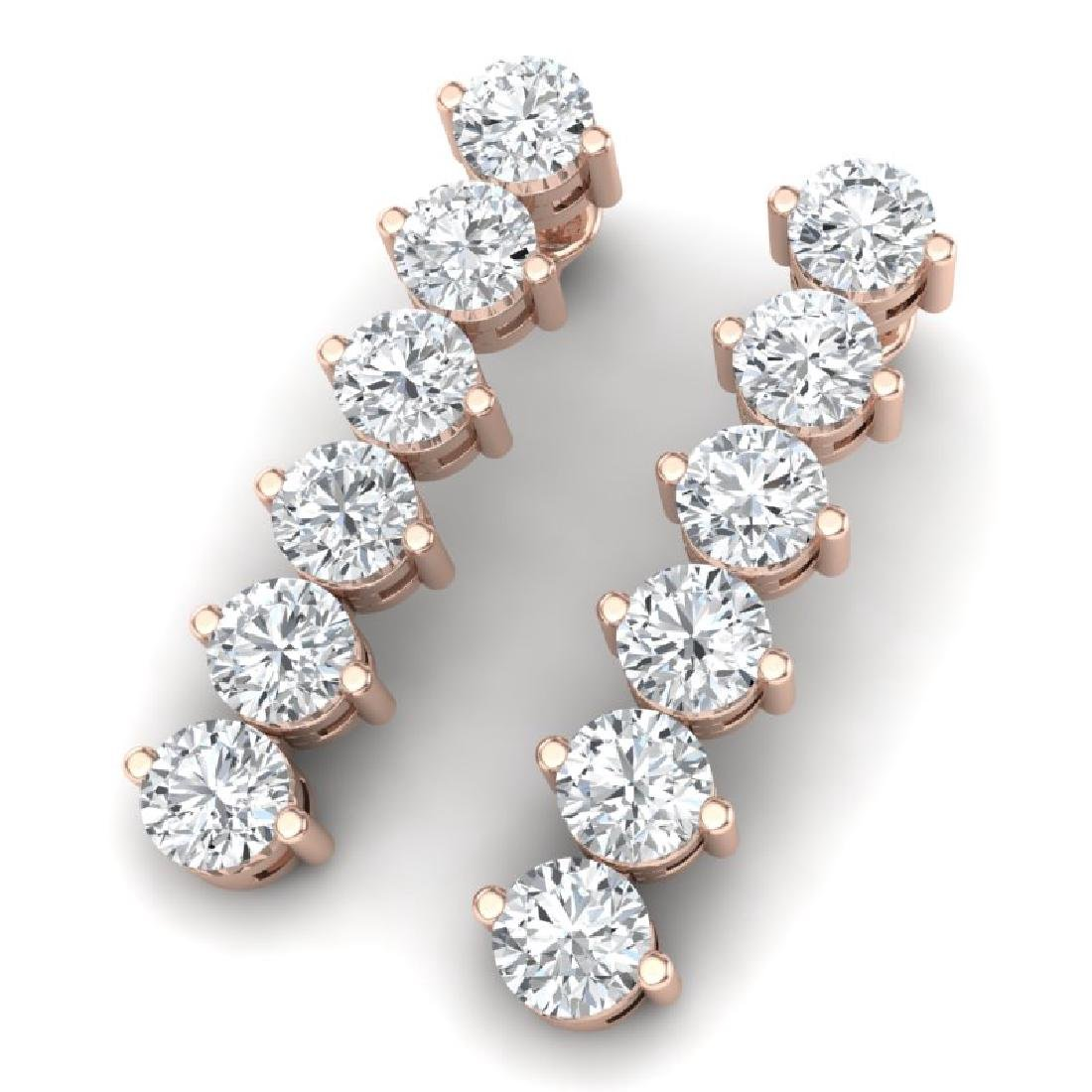 6 CTW Certified SI/I Diamond Earrings 18K Rose Gold