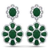 3388 CTW Royalty Emerald  VS Diamond Earrings 18K