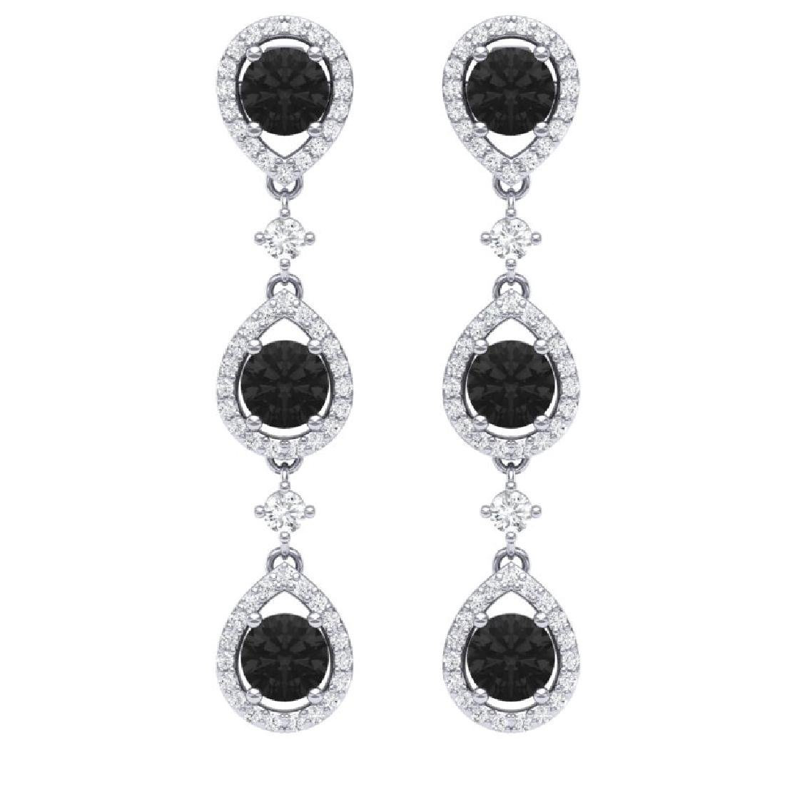 4.7 CTW Certified Black VS Diamond Earrings 18K White