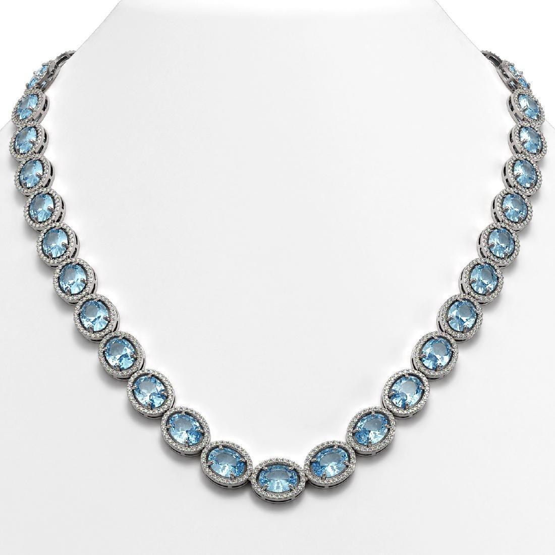 54.11 CTW Aquamarine & Diamond Necklace White Gold 10K