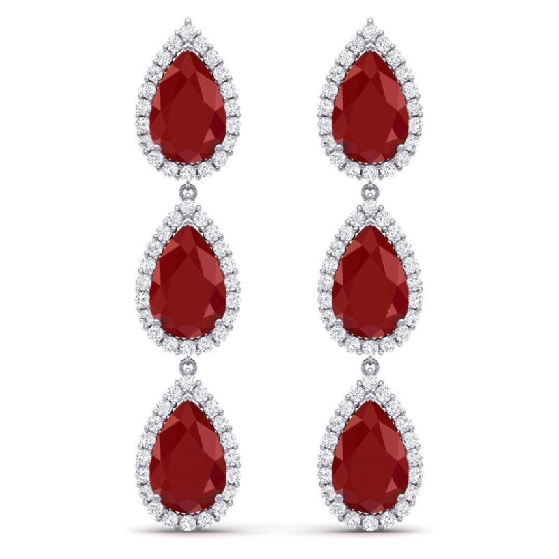 27.06 CTW Royalty Designer Ruby & VS Diamond Earrings