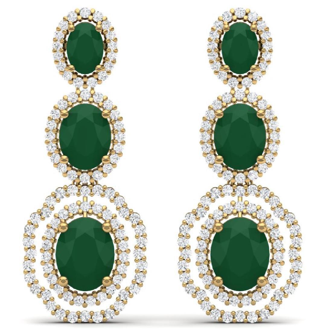 17.01 CTW Royalty Emerald & VS Diamond Earrings 18K