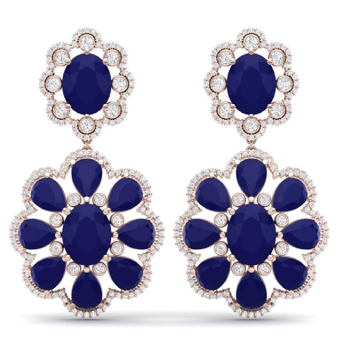 33.88 CTW Royalty Sapphire & VS Diamond Earrings 18K