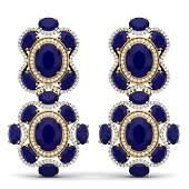 335 CTW Royalty Sapphire  VS Diamond Earrings 18K