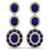 3284 CTW Royalty Sapphire  VS Diamond Earrings 18K