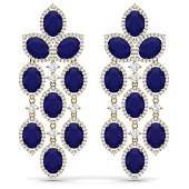 2615 CTW Royalty Sapphire  VS Diamond Earrings 18K