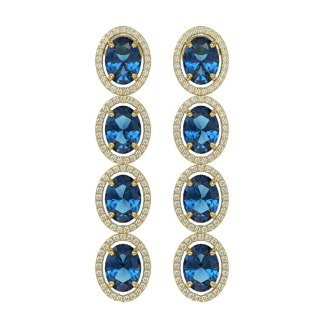 14.76 CTW London Topaz & Diamond Halo Earrings 10K
