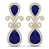 316 CTW Royalty Sapphire  VS Diamond Earrings 18K