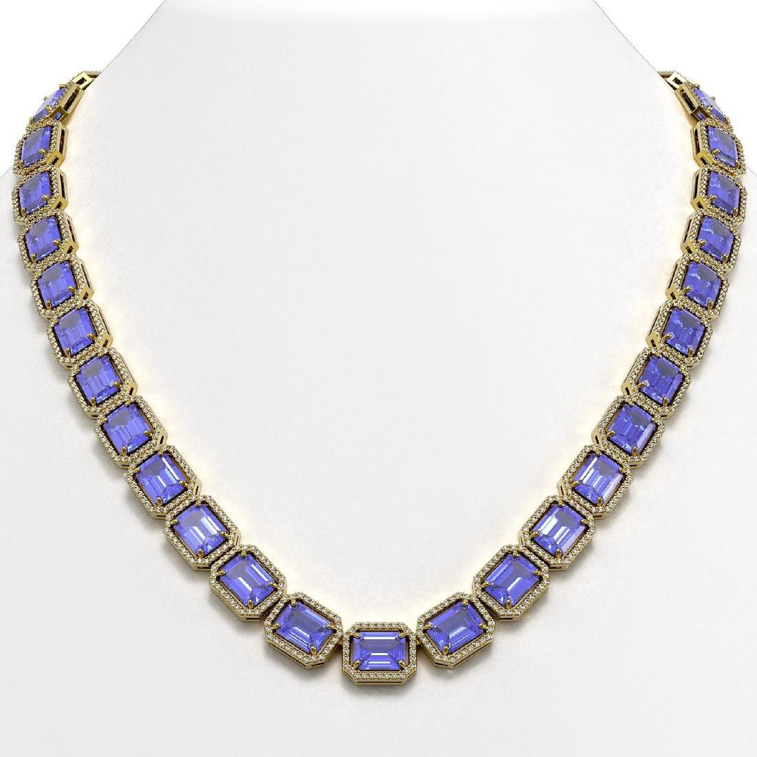 79.99 CTW Tanzanite & Diamond Halo Necklace 10K Yellow
