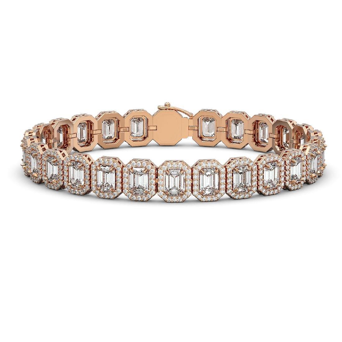 20.25 CTW Emerald Cut Diamond Designer Bracelet 18K