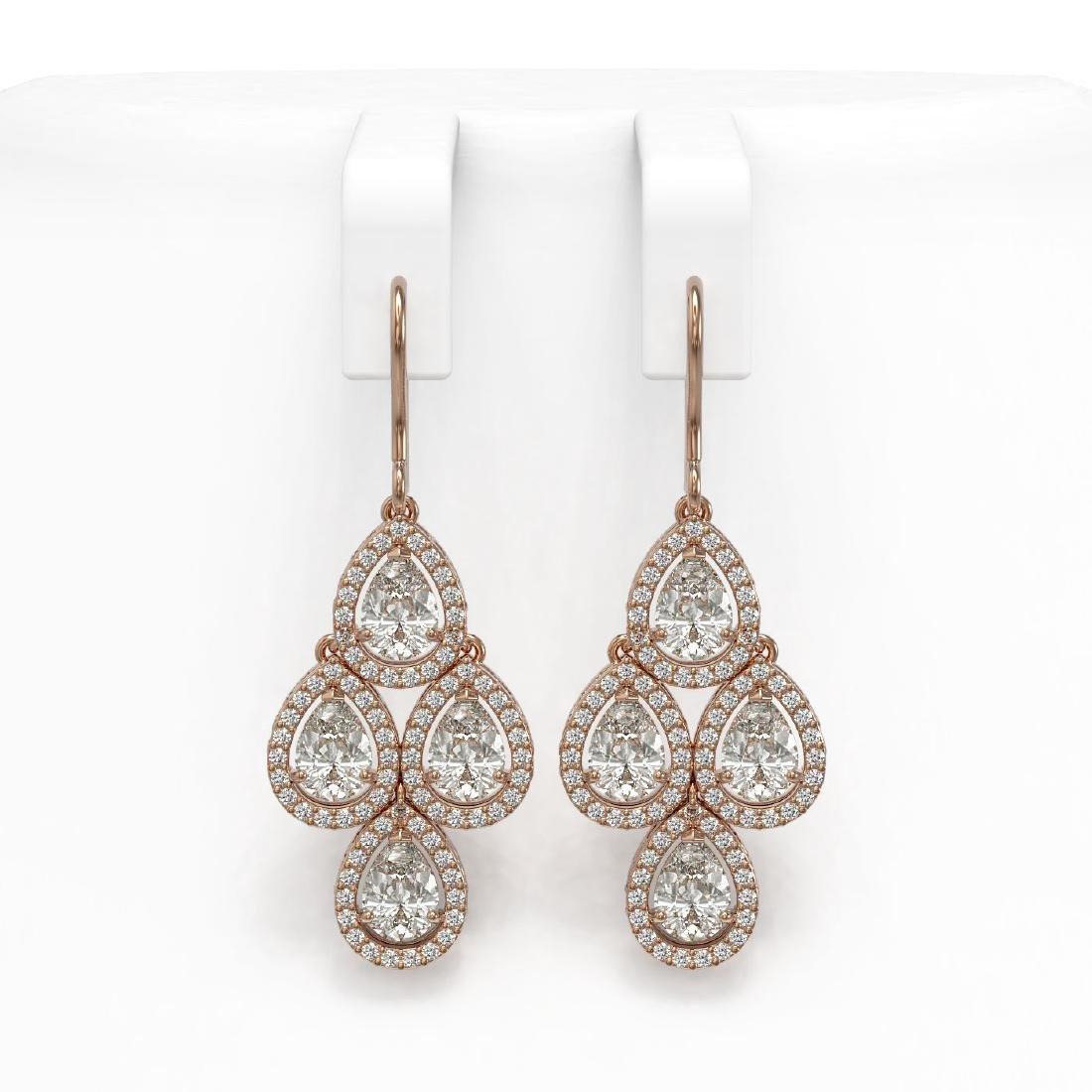 5.85 CTW Pear Diamond Designer Earrings 18K Rose Gold