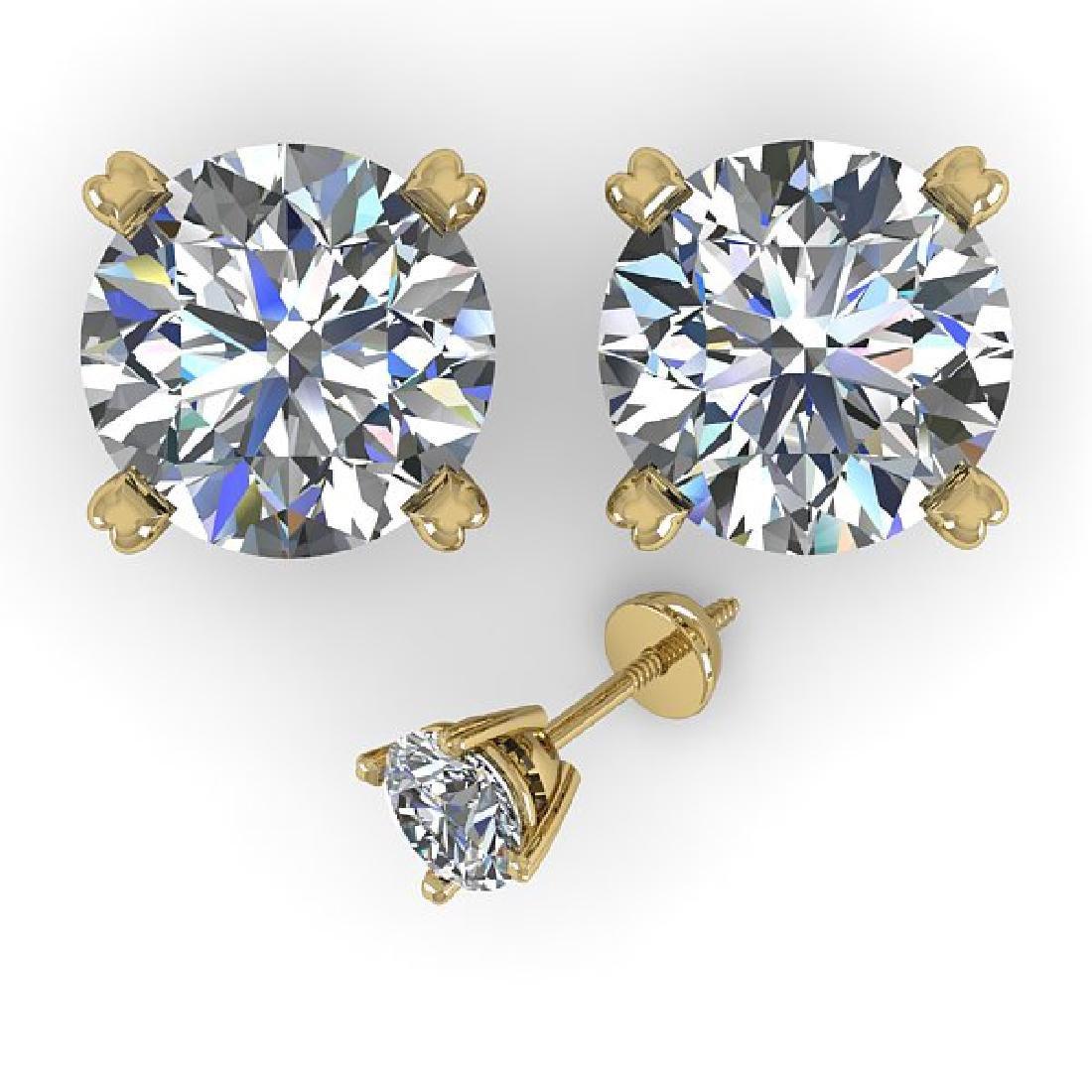3 CTW Certified VS/SI Diamond Stud Earrings 18K Yellow - 2
