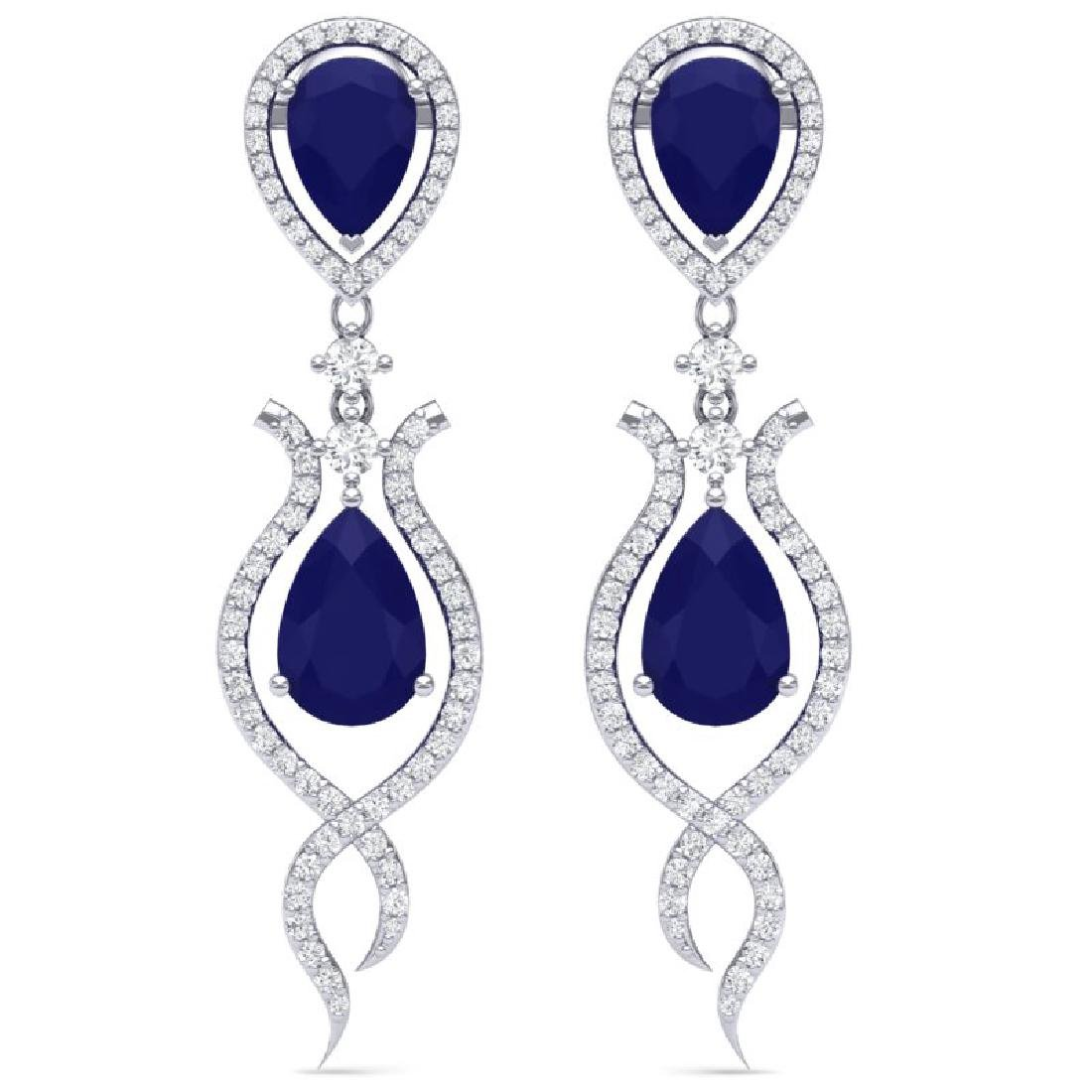 16.57 CTW Royalty Sapphire & VS Diamond Earrings 18K