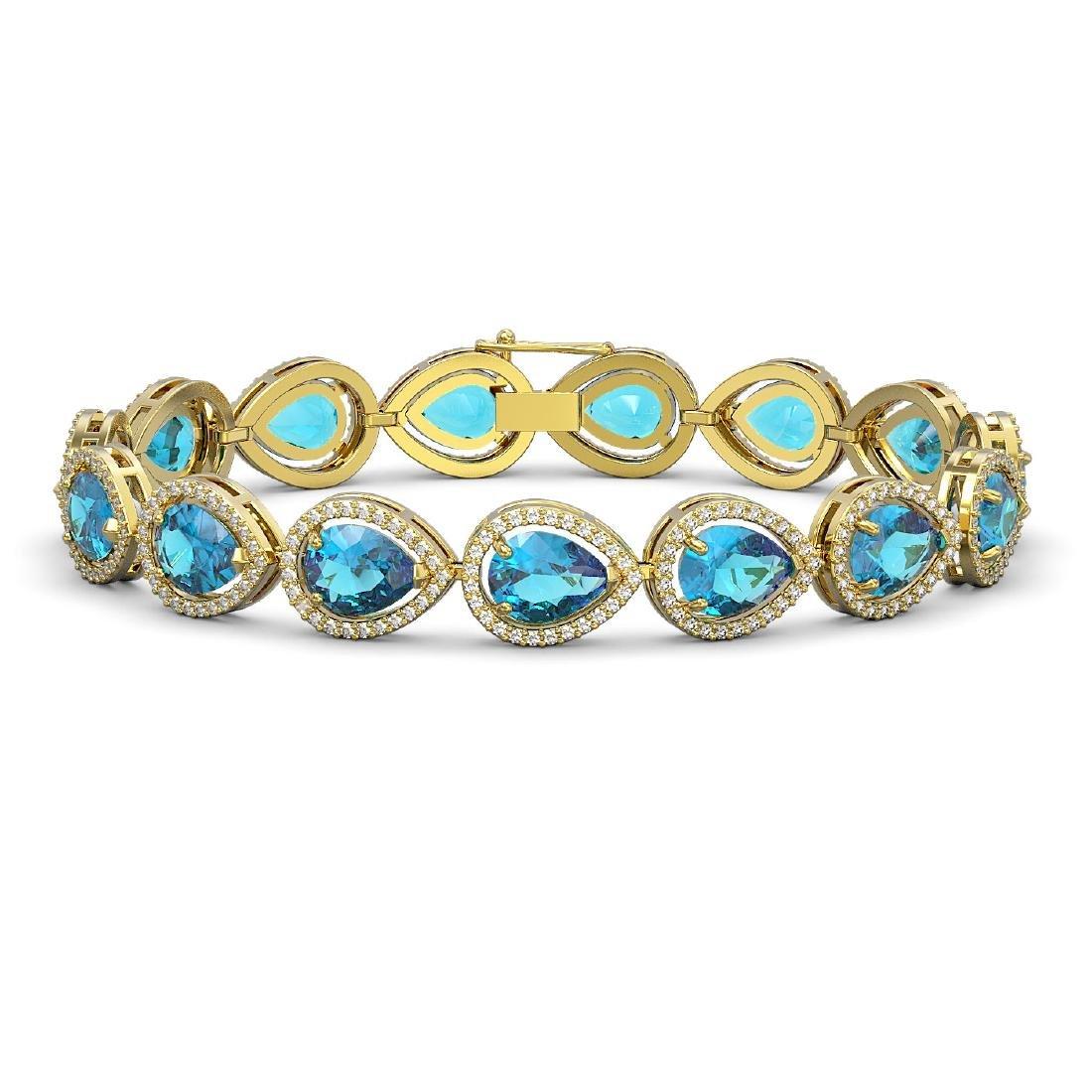 20.3 CTW Swiss Topaz & Diamond Halo Bracelet 10K Yellow