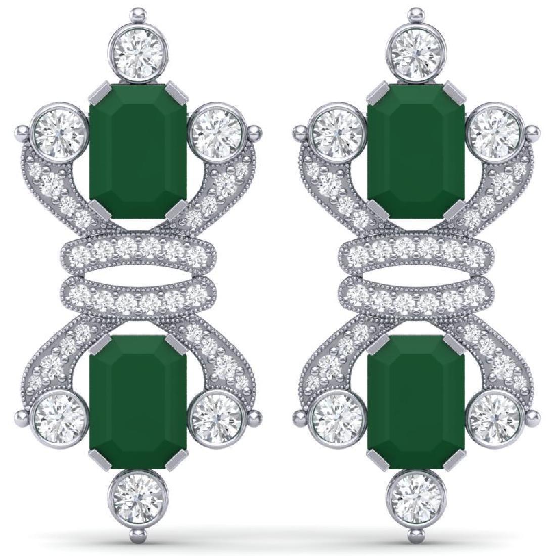 27.36 CTW Royalty Emerald & VS Diamond Earrings 18K