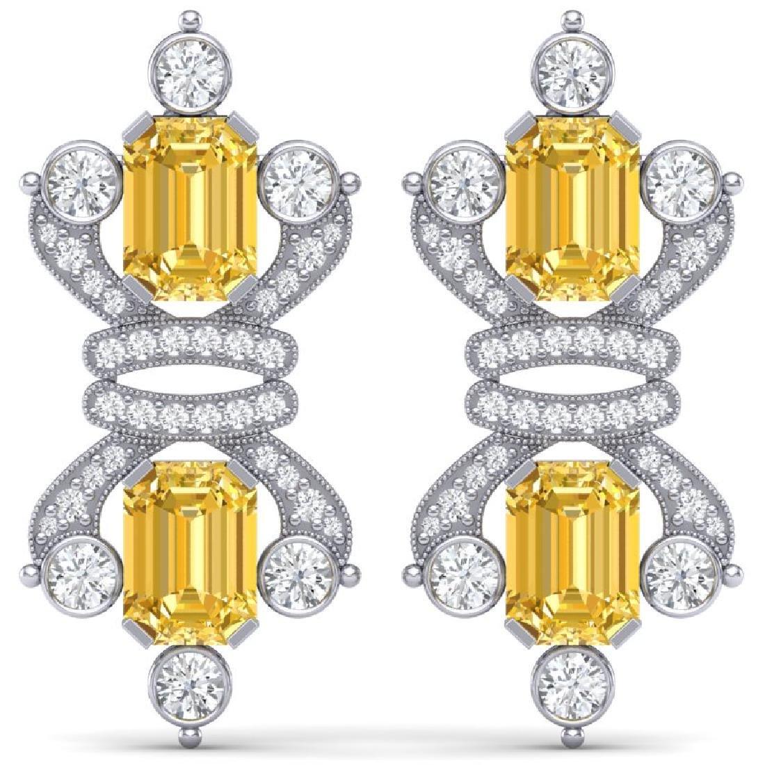 25.35 CTW Royalty Canary Citrine & VS Diamond Earrings