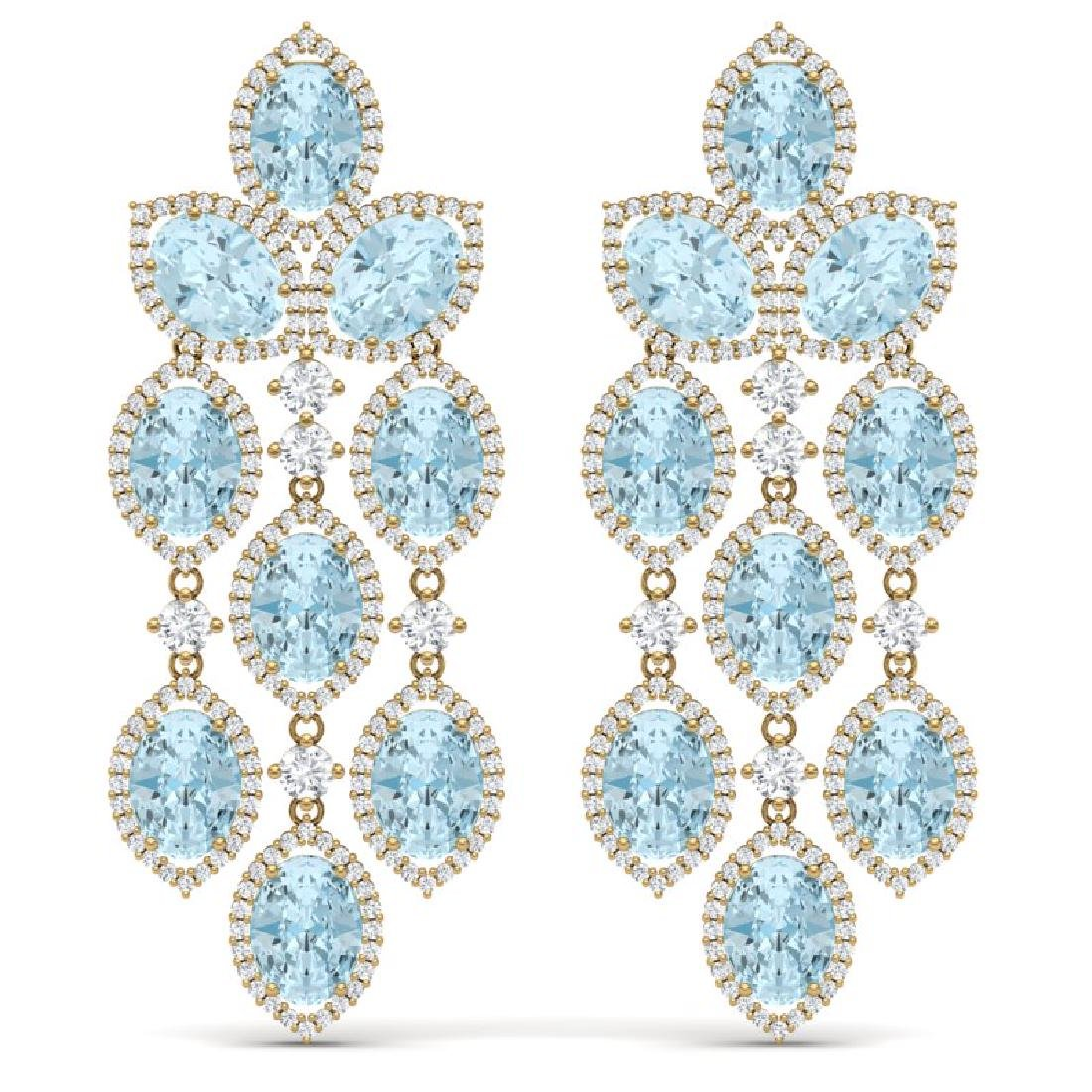 23.76 CTW Royalty Sky Topaz & VS Diamond Earrings 18K