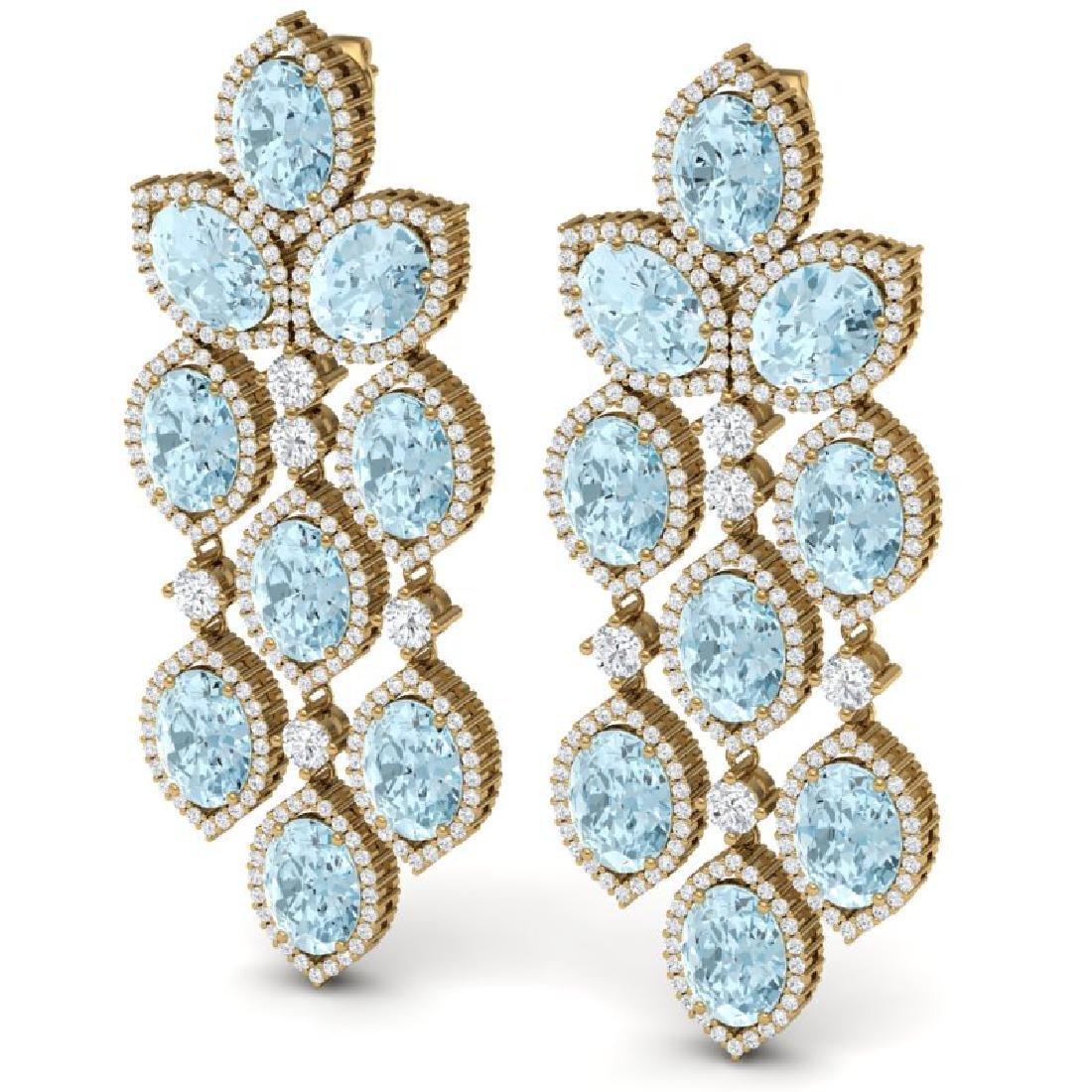 23.76 CTW Royalty Sky Topaz & VS Diamond Earrings 18K - 2