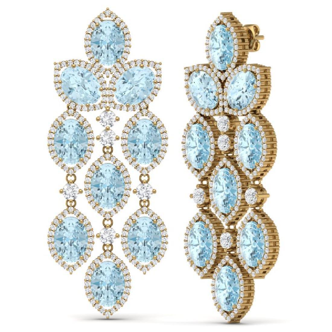 23.76 CTW Royalty Sky Topaz & VS Diamond Earrings 18K - 3