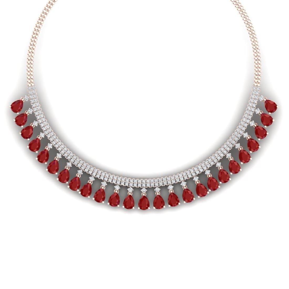 51.75 CTW Royalty Ruby & VS Diamond Necklace 18K Rose