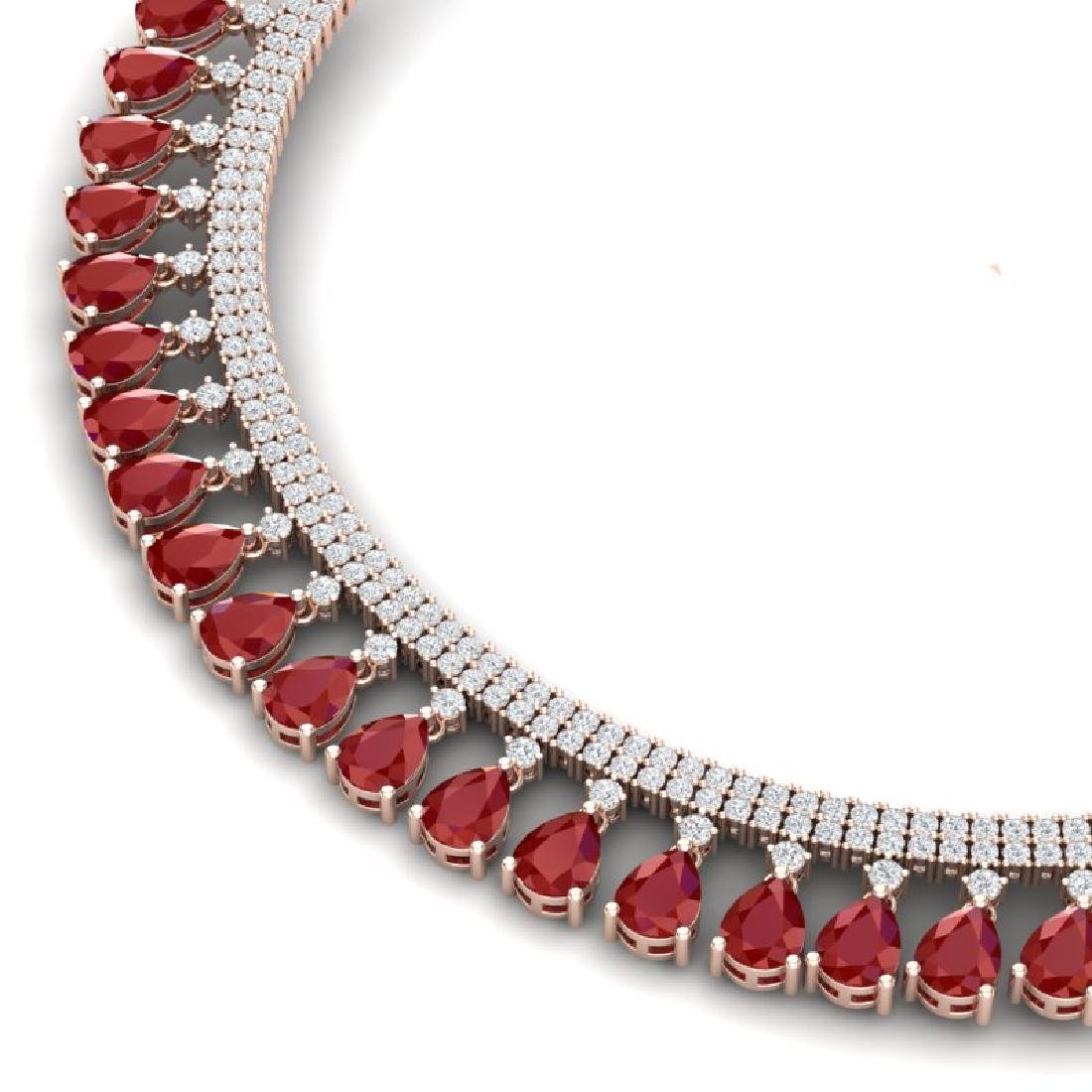 51.75 CTW Royalty Ruby & VS Diamond Necklace 18K Rose - 2