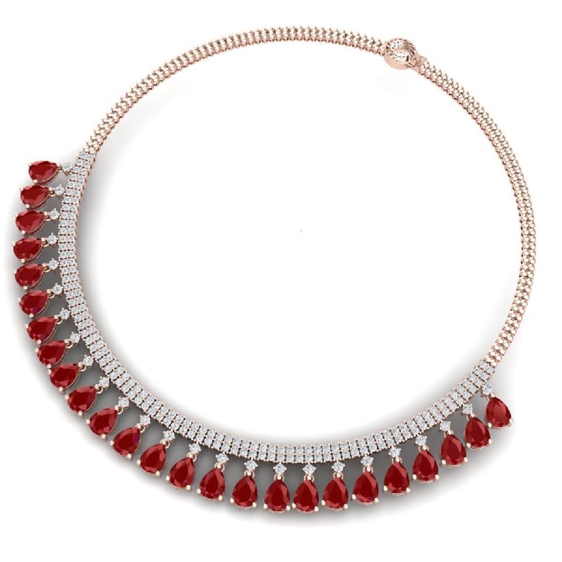 51.75 CTW Royalty Ruby & VS Diamond Necklace 18K Rose - 3