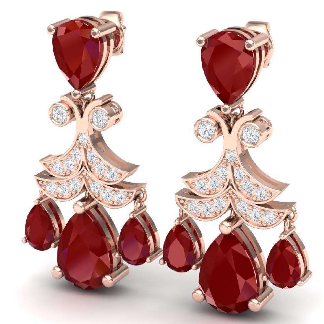 11.97 CTW Royalty Designer Ruby & VS Diamond Earrings - 2