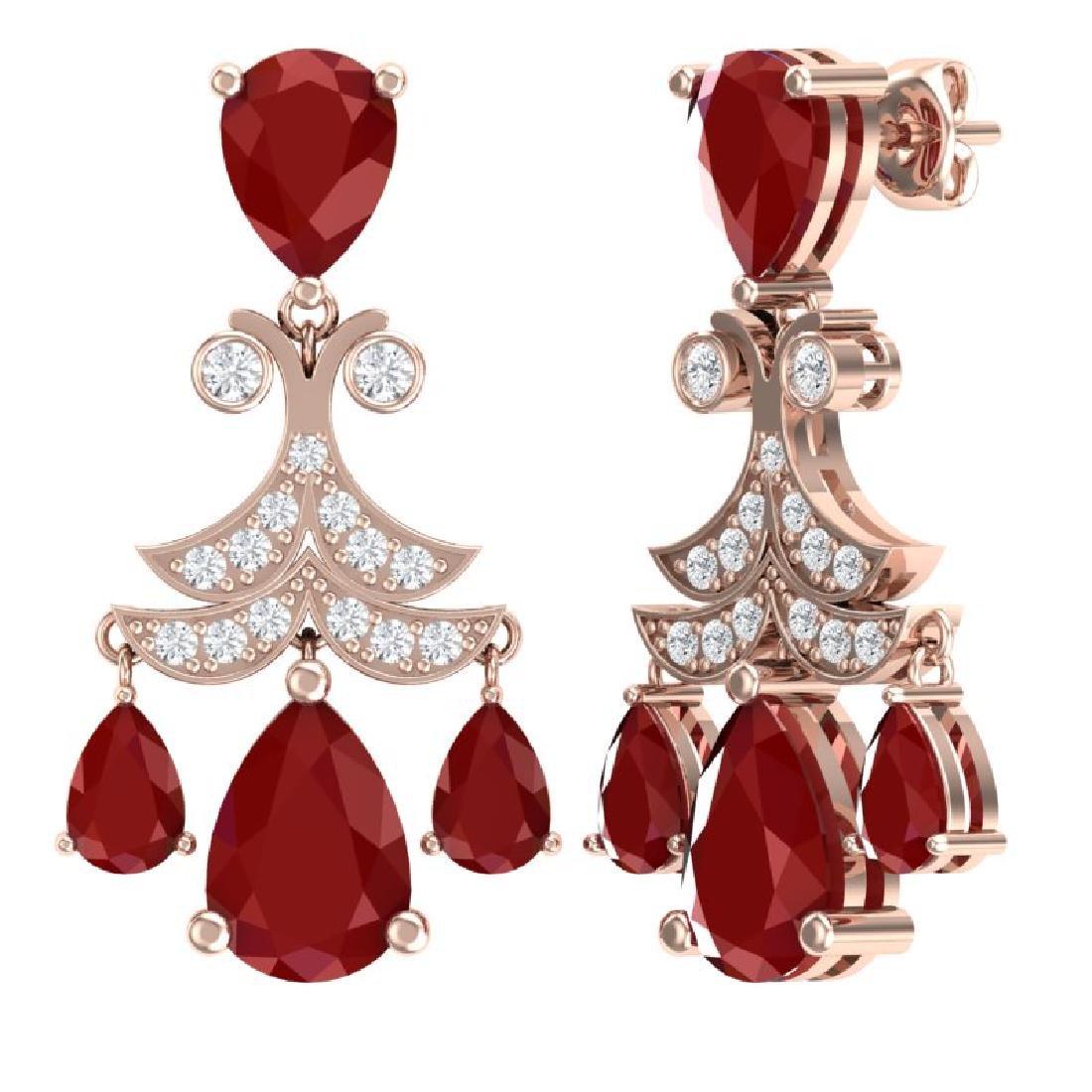 11.97 CTW Royalty Designer Ruby & VS Diamond Earrings - 3