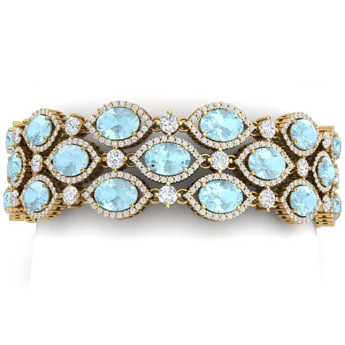 45.84 CTW Royalty Sky Topaz & VS Diamond Bracelet 18K