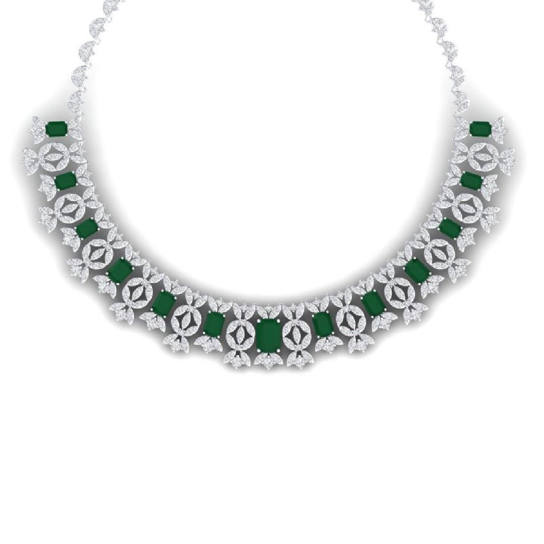 50.44 CTW Royalty Emerald & VS Diamond Necklace 18K