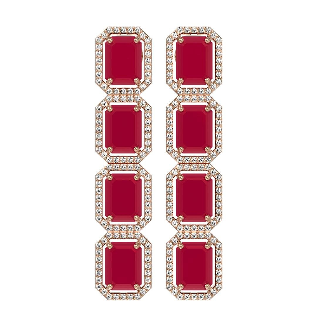 20.59 CTW Ruby & Diamond Halo Earrings 10K Rose Gold
