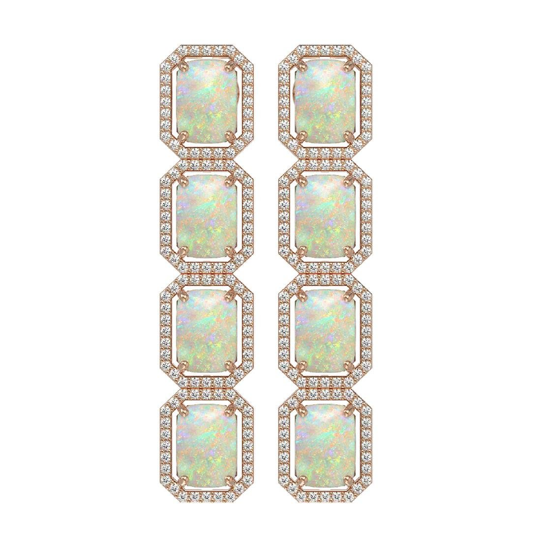 12.99 CTW Opal & Diamond Halo Earrings 10K Rose Gold